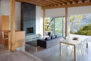 projekt wnetrza malego domku nad jeziorem